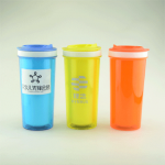 时尚双层塑料保温杯 咖啡杯